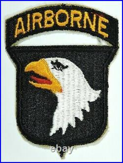 WWII US Army 101st Airborne Patch with Attached Airborne Tab, Snowy Back