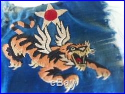 WWII US Army 14th Air Force Flying Tigers embroydered silk patch 4 x 3 in
