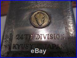 WWII US Army 24th Division Kyusyu Japan Cigarette Case and patch Trench Art