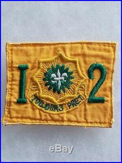 WWII US Army 2nd ACR Armored Cavalry Regiment Twill Patch RARE Yellow Square