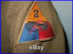 WWII US Army 2nd Armored Division LARGE SIZE 42L Long Uniform Jacket Patches