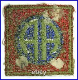 WWII US Army 82nd Airborne Shoulder Sleeve Insignia, Green Back