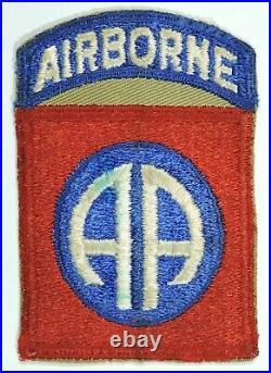 WWII US Army 82nd Airborne Shoulder Sleeve Insignia on Khaki Twill