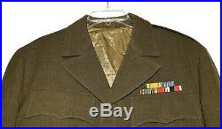 WWII US Army Original Ike Eisenhower Mens Jacket with Patches and Bars Size 44R