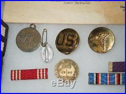 WWII US Army Pacific Dental Medic Group Lot CMB PH Papers Ribbons Pins Patches