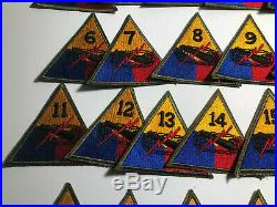 WWII US Army Tank Armored Patch Lot Divisions 1-22 Original Second World War