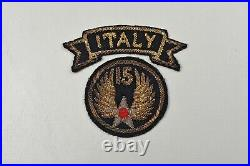 WWII U. S. 15th ARMY AIR FORCE PATCH withITALY TAB ITALIAN MADE BULLION