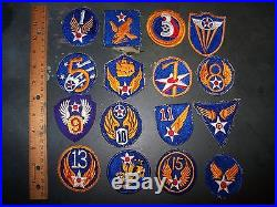 WWII Vintage USAAF (US Army Air Force) Pre-USAF Patch Lot. (1st AF to16th AF)