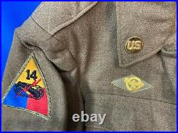 WWII WW2 US Army Double Patched Uniform 14th Armored & 45th Infantry Division