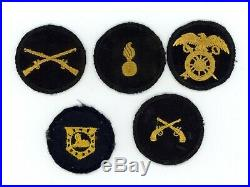 WWII WW2 US Army cap patch devices lot of 5x FIVE