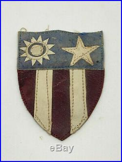 WWII WW2 US U. S. CBI Leather Patch, CR41, Original, Theater, Army Air Force, Uniform