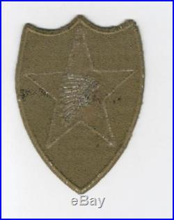 WW 2 US Army 2nd Infantry Division OD Border Greenback Patch Inv# C841
