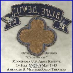 WW 2 US Army 88th Infantry Patch & Italian Made Blue Devils Tab Inv# JR124