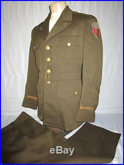 Wwii Us Army Air Corps Cbi Named Officer Dress Uniform Pants & Bullion Patch