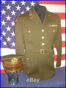 Wwii Us Army Officer's Uniform Coat With Marine Hq-pac & Usaaf Far East Patches