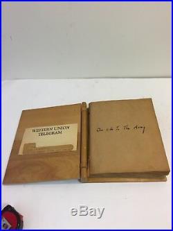 Wwii Us Army Scrapbook Vintage Inlaid Wood Military