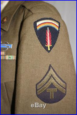 Wwii Us Army Shaef Tunic Uniform With Felt Patch Ribbons And Cib Badge